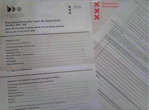 Празен формуляр за кандидатстване в основно училище (Амстердам)