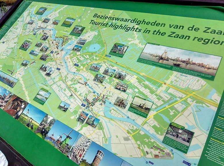 Карта на Zaanse Schans, Нидерландия.