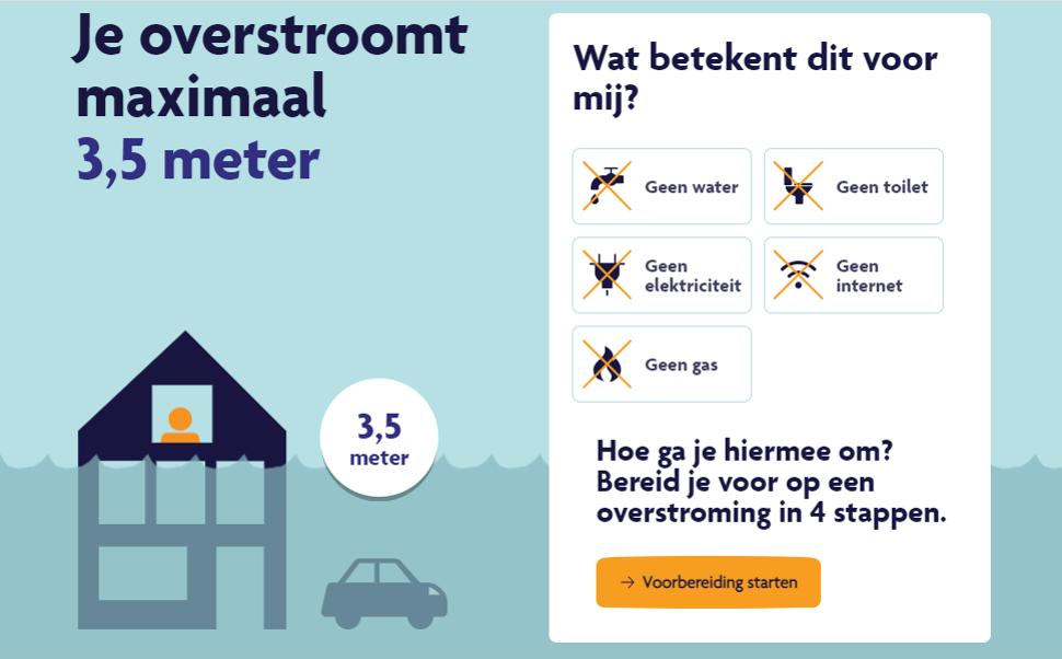 След като въведете пощенския си код, ще видите колко най-много може да се покачи водата във вашия район. Нидерландия. Снимка от overstroomik.nl.