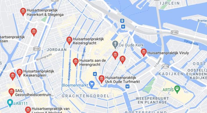 В Google Maps лекарите са означени с червен символ на къща с плюс в нея.